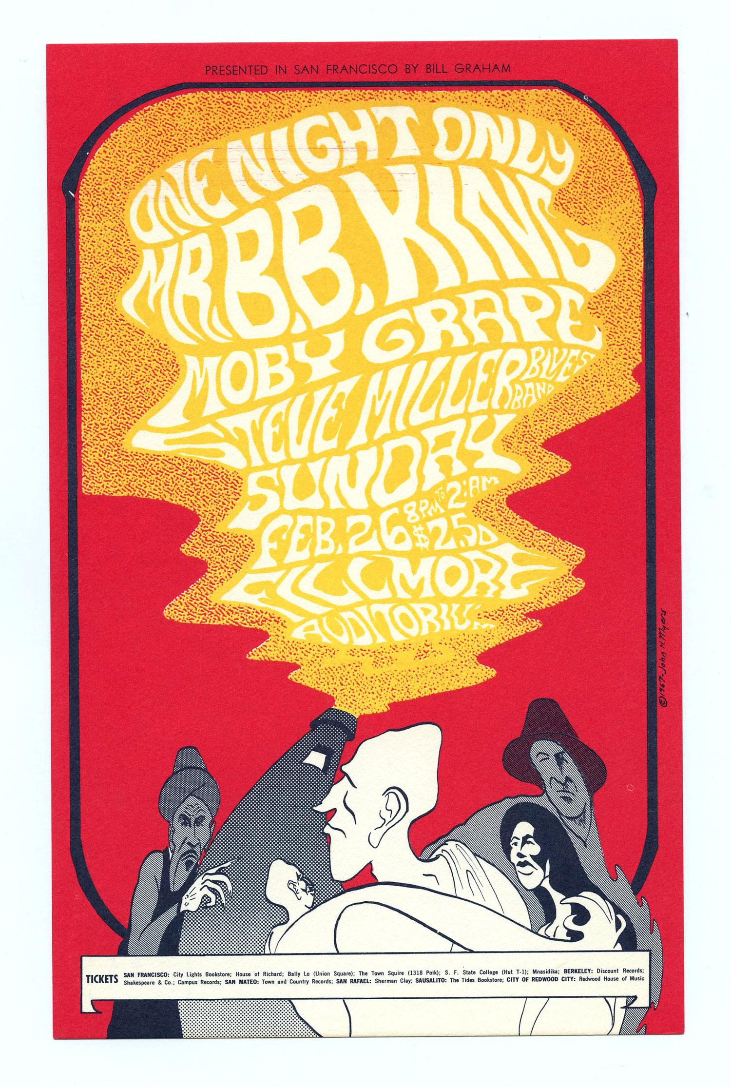 BG  52 Postcard B.B. King Moby Grape 1967 Feb 26