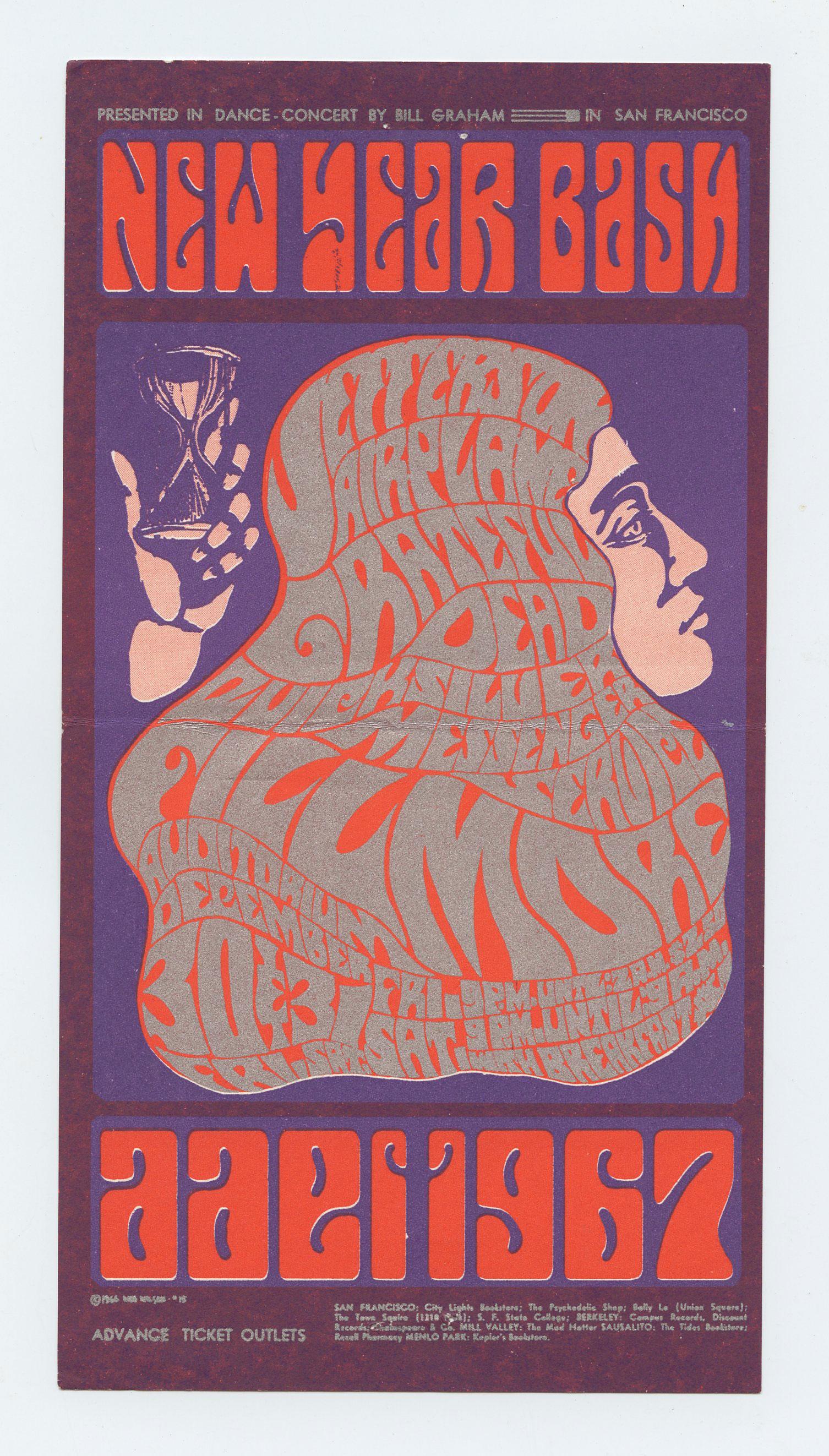BG  37 Handbill Mailed Grateful Ddead 1966 Dec 30
