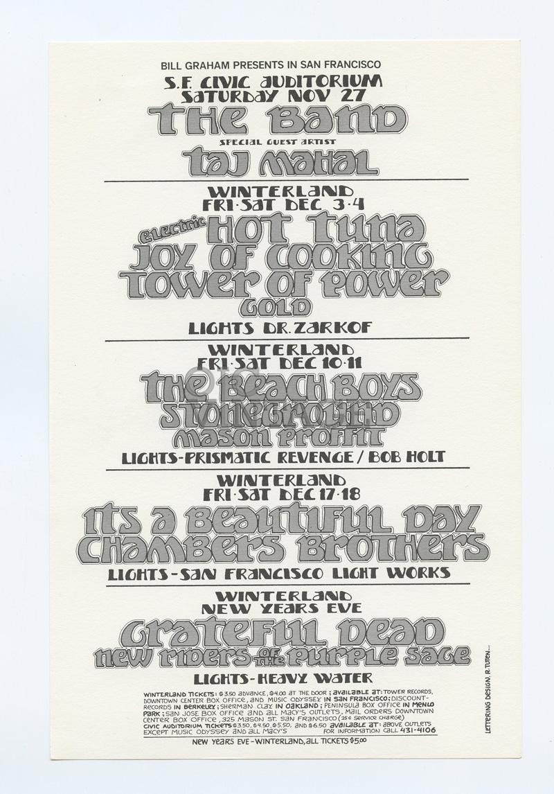 Bill Graham Presents Flyer 1971 Nov Grateful Dead Tower of Power The Beach Boys