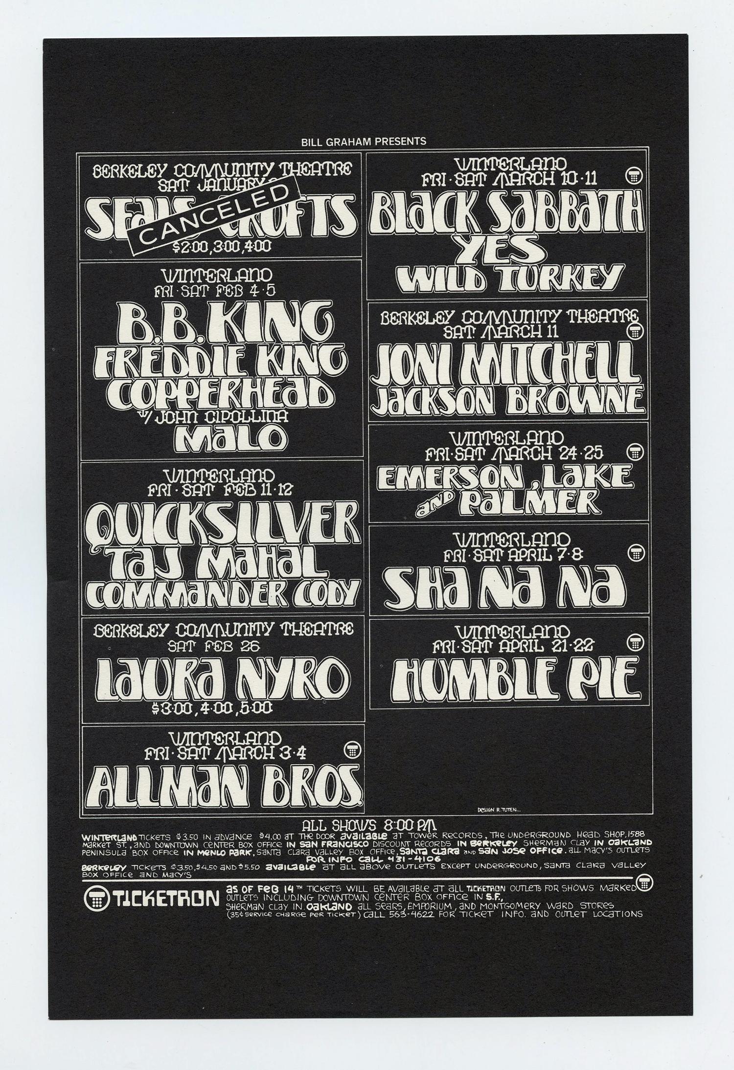 Bill Graham Presents Flyer 1972 Feb Black Sabbath Joni Mitchell, Taj Mahal