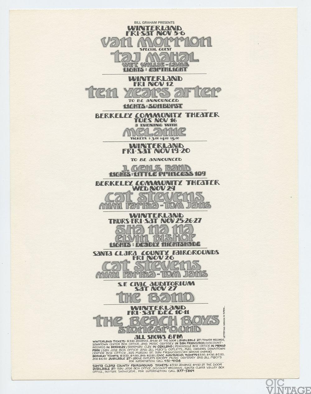 Bill Graham Presents Postcard 1971 Nov Dec Van Morrison The Beach Boys The Band