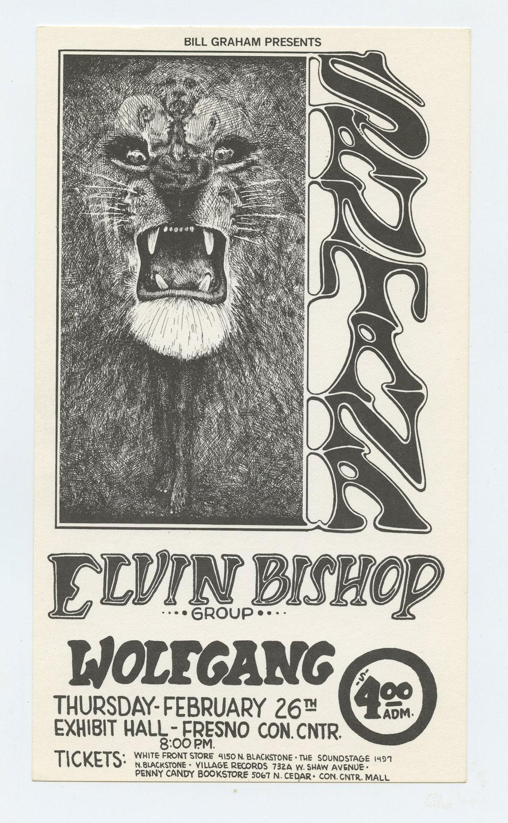 Santana Handbill 1970 Feb 26 Fresno Exhibition Hall Lee Conlkin