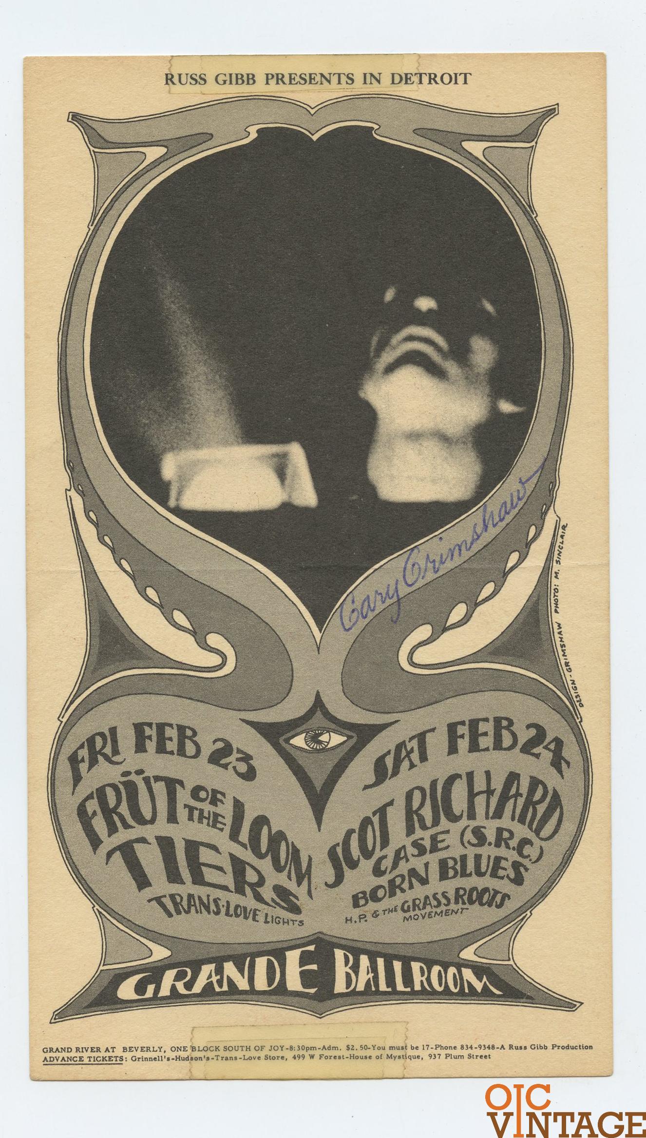 Grande Ballroom Postcard 1968 Feb 23 Gary Grimshaw signed