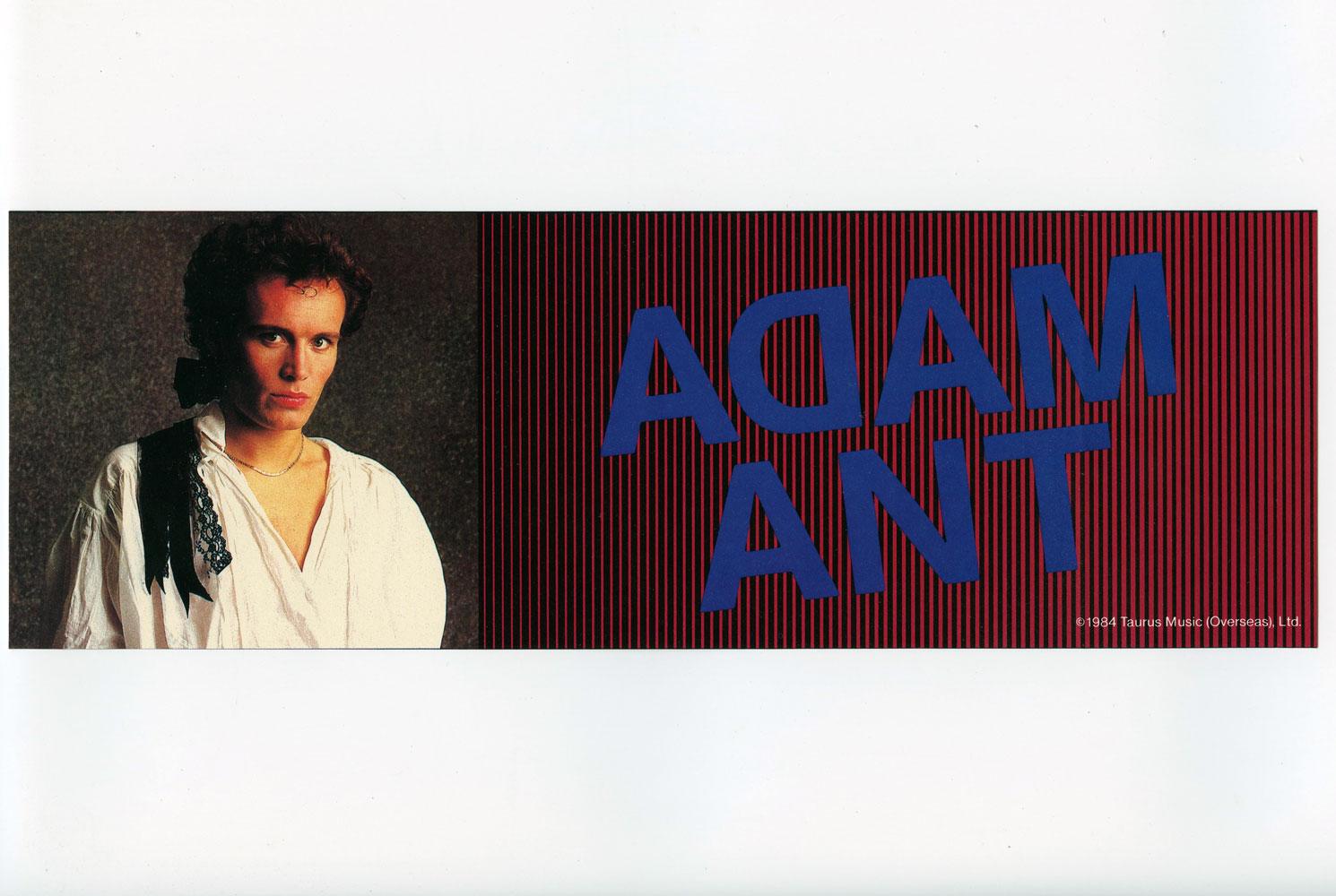 Adam Ant Sticker 1984 Vintage