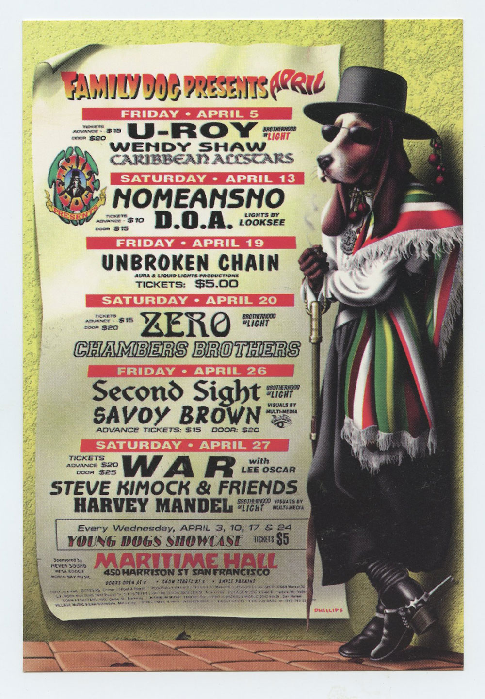 Maritime Hall 1996 Apr Flyer WAR Savoy Brown Chambers Brothers