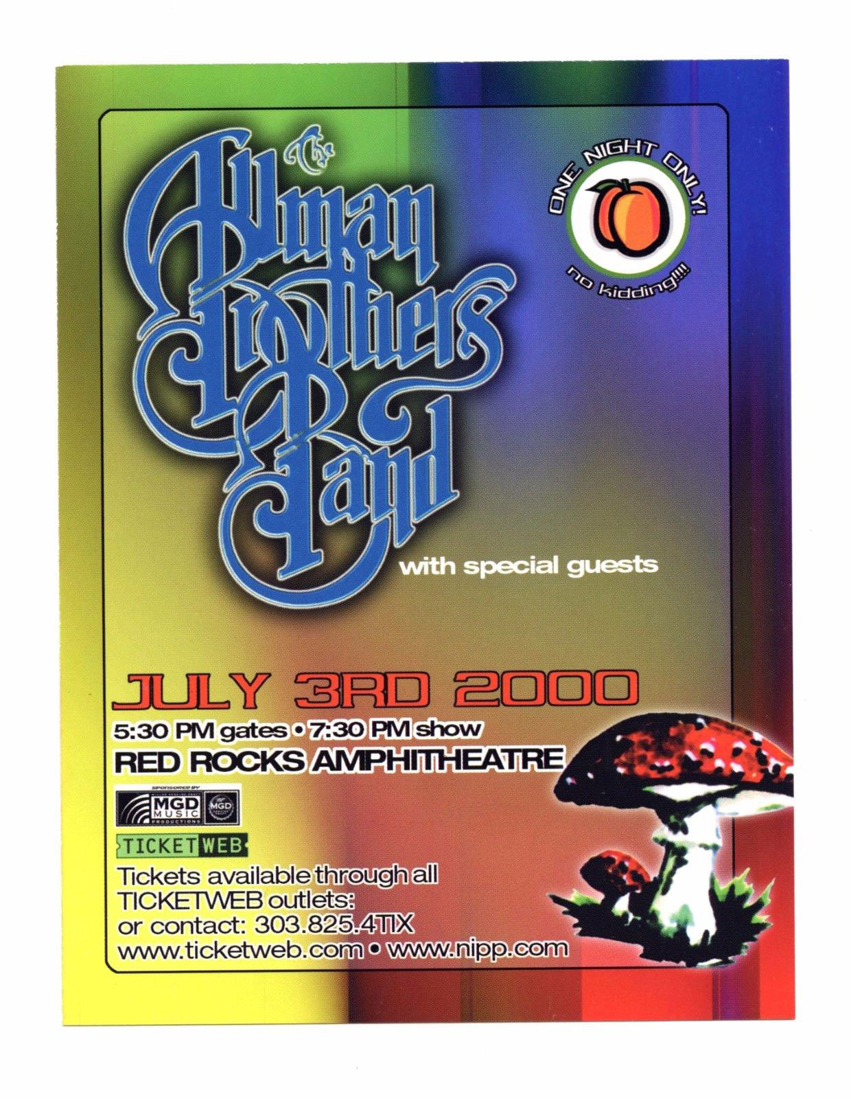 Allman Brothers Band Flyer 2000 Jul 3 Red Rock Amphitheatre Promo 2 sided