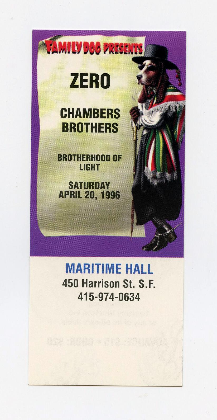 Maritime Hall 1996 AprTicket Zero Chambers Brothers