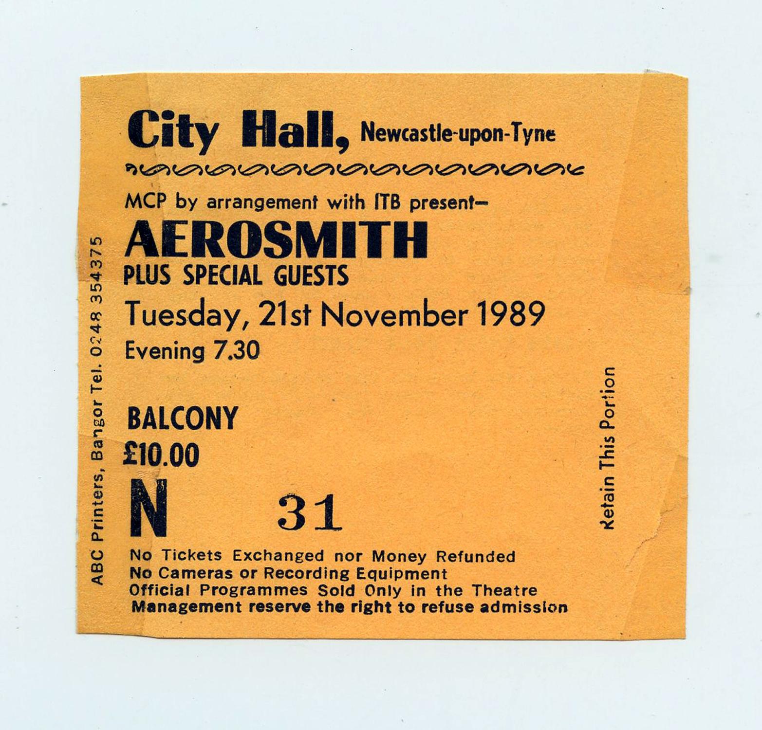 Aerosmith Ticketstub 1989 Nov 21 City Hall Newcastle UK