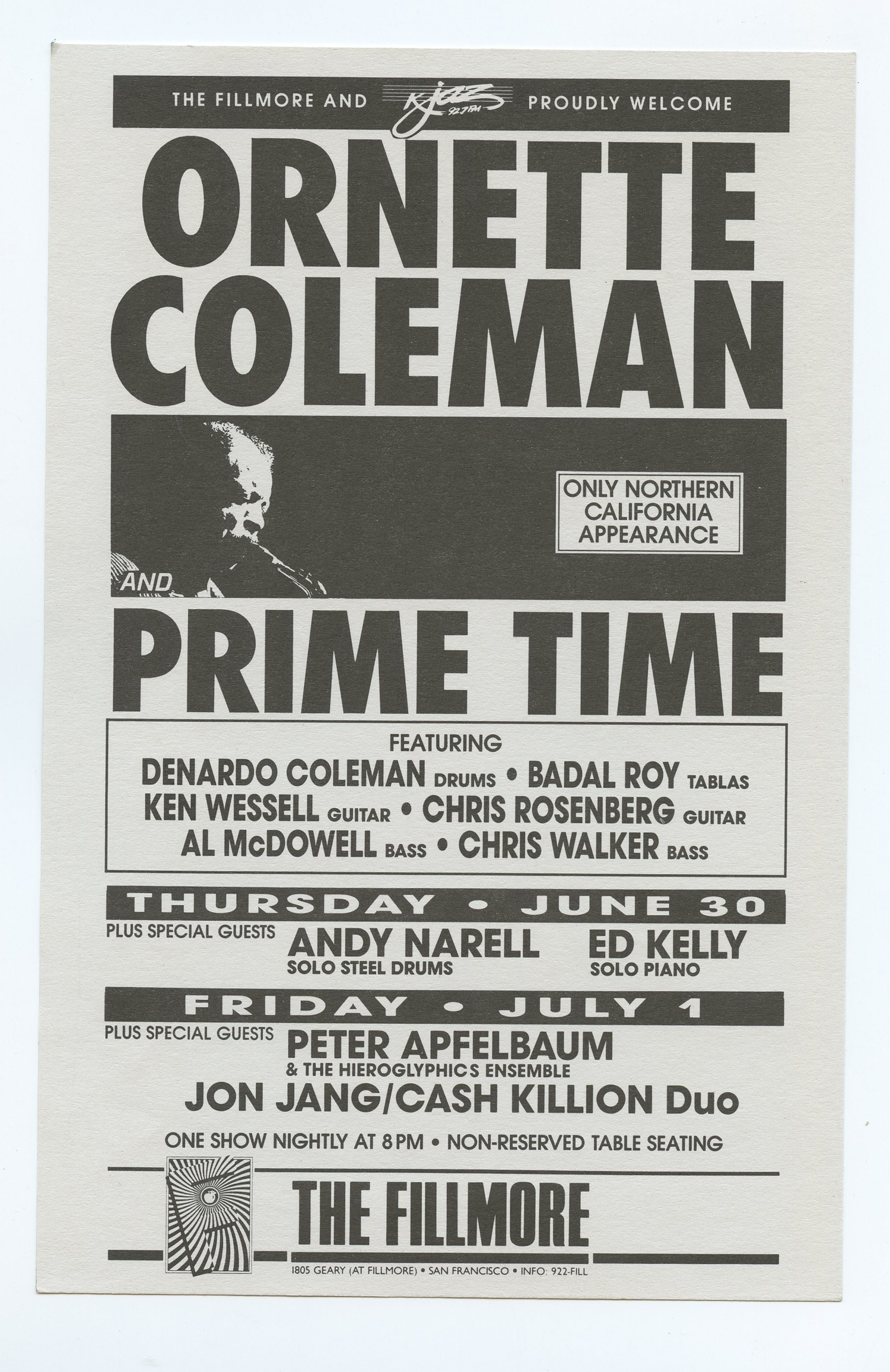 Ornette Coleman and Prime Time Handbill 1988 Jun 30 New Fillmore