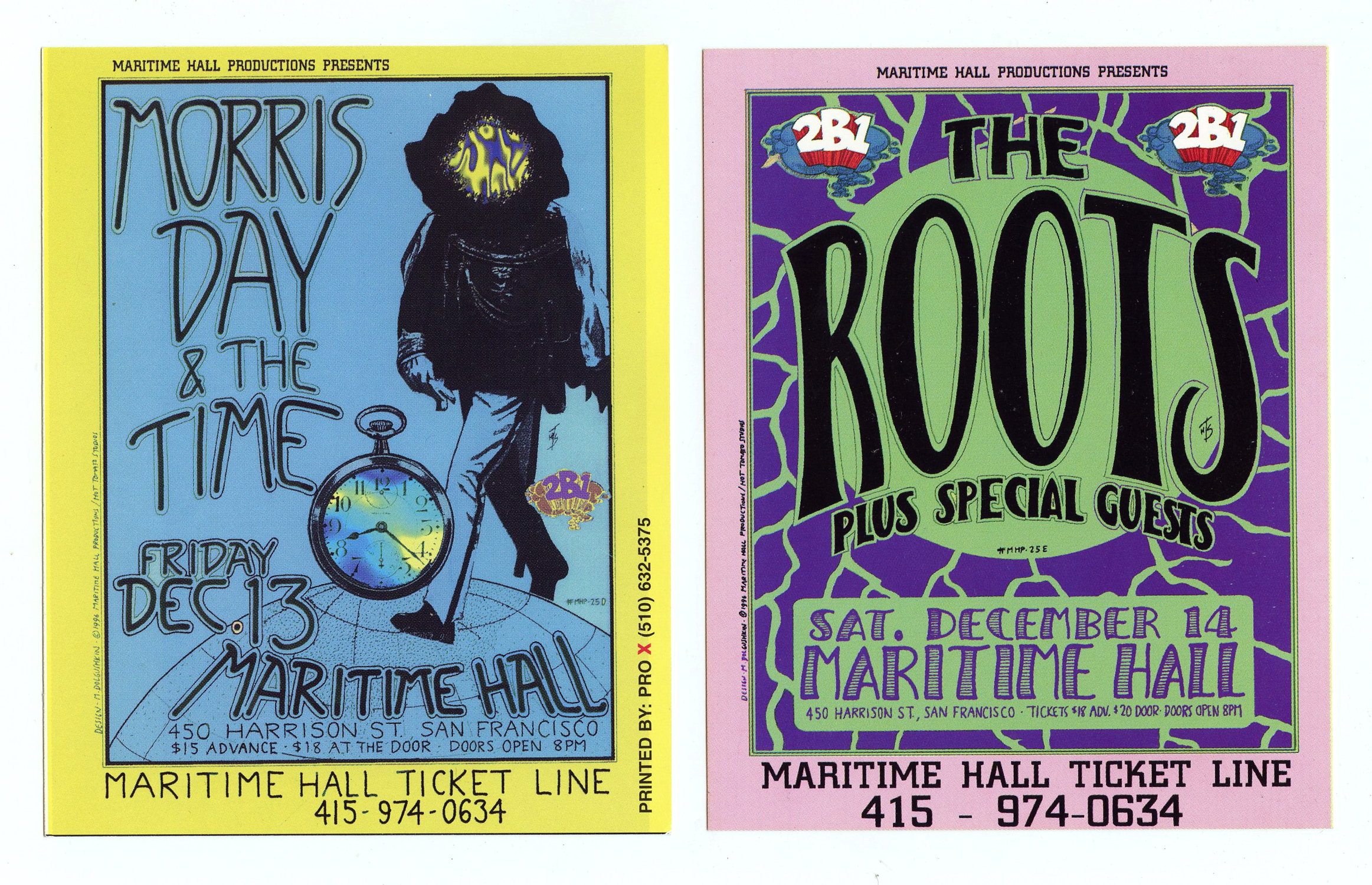 Maritime Hall 1996 Dec Flyer Morris Day & the Time The Root