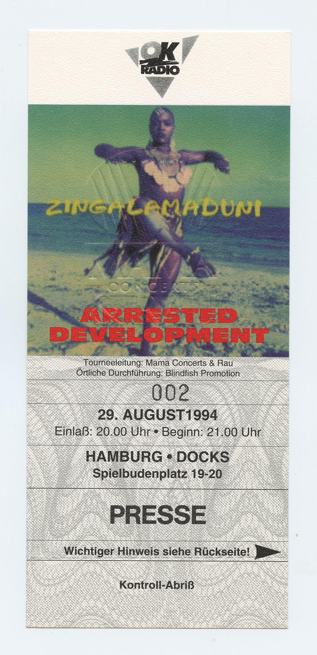 Arrested Development Ticket 1994 Aug 29 Hamburg Germany Unused