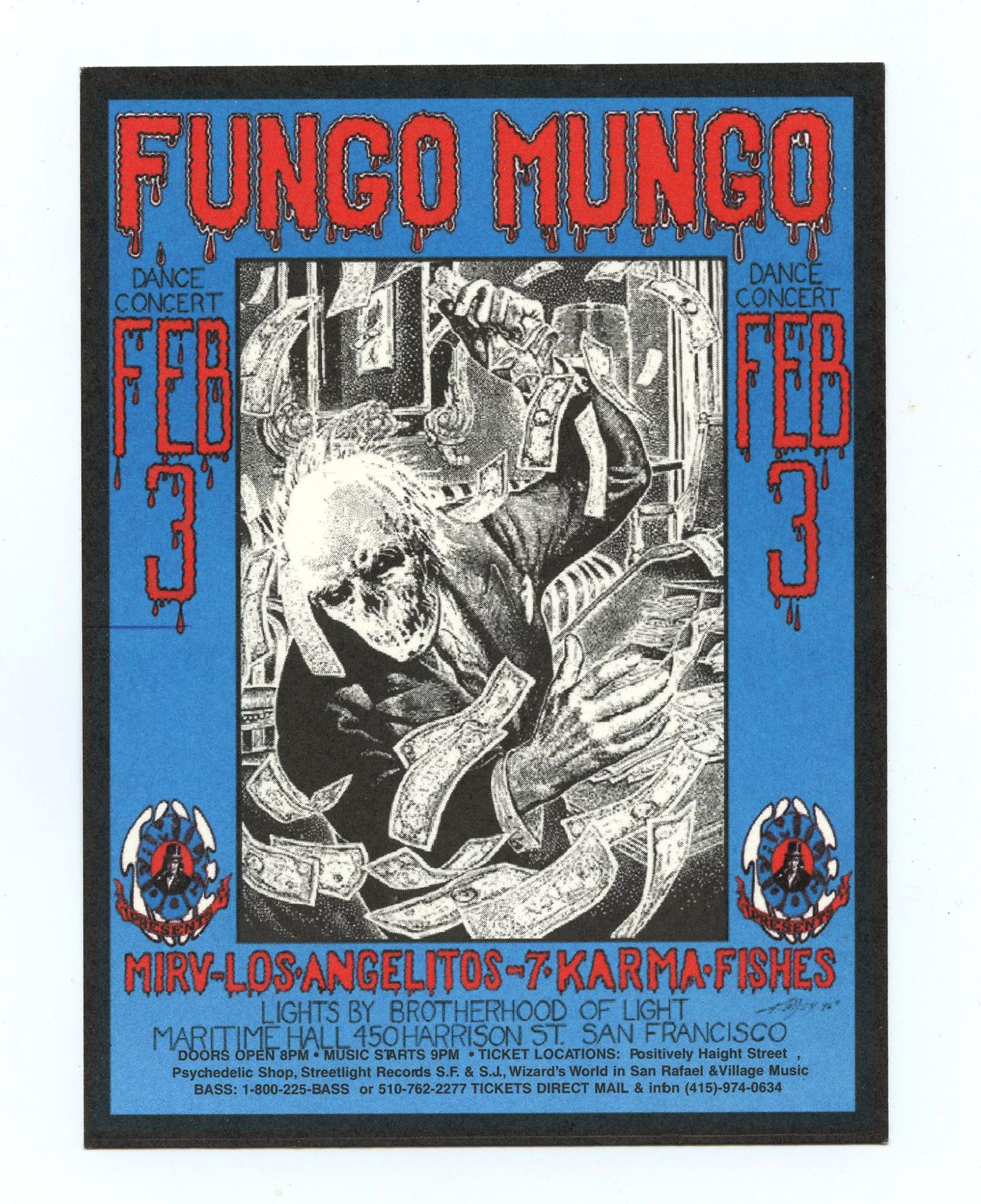 Maritime Hall 1996 Feb 3 Flyer Fungo Mungo Alton Kelley