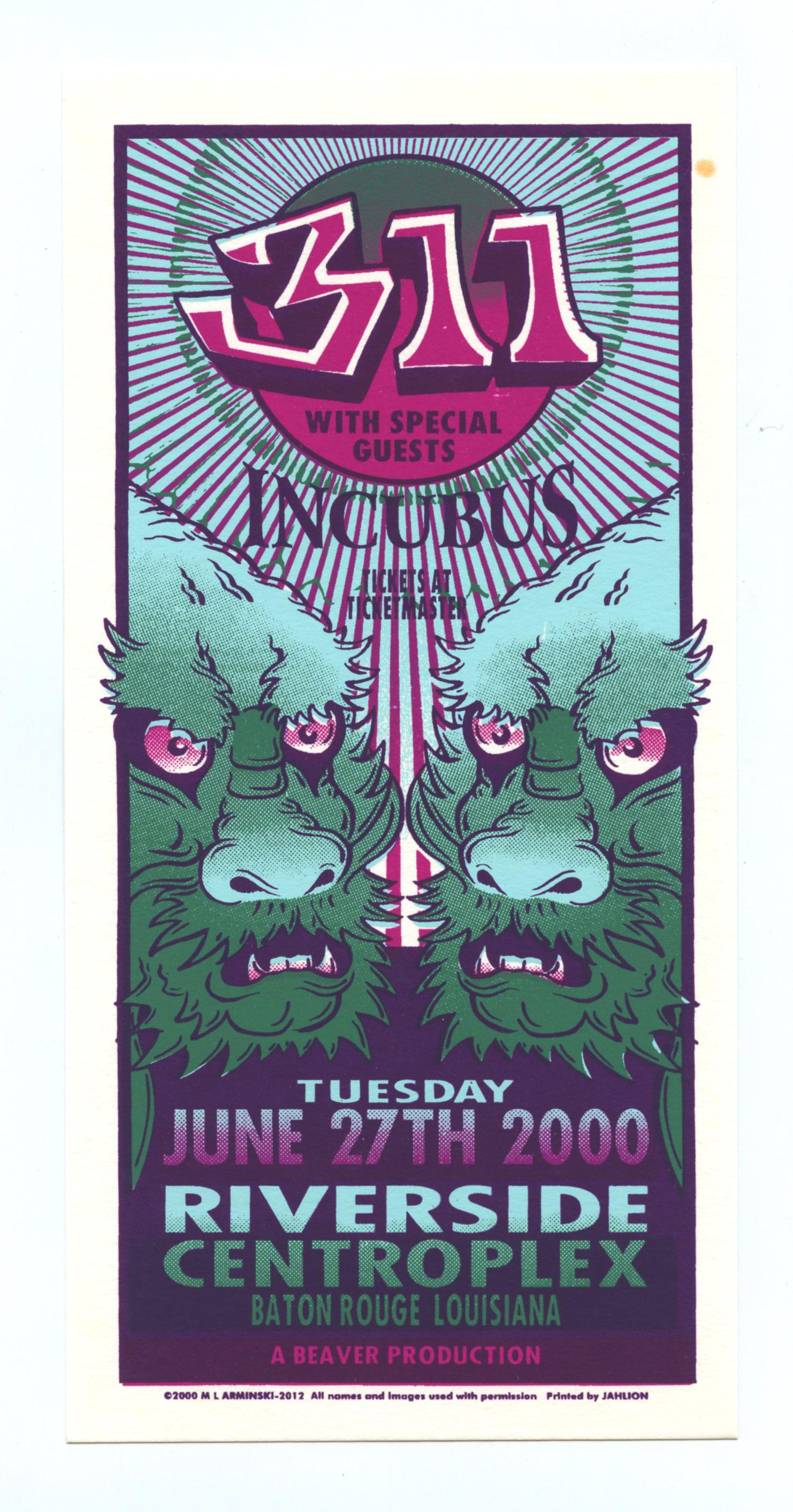 311 Handbill 2000 Jun 27 Riverside Centroplex Baton Rouge