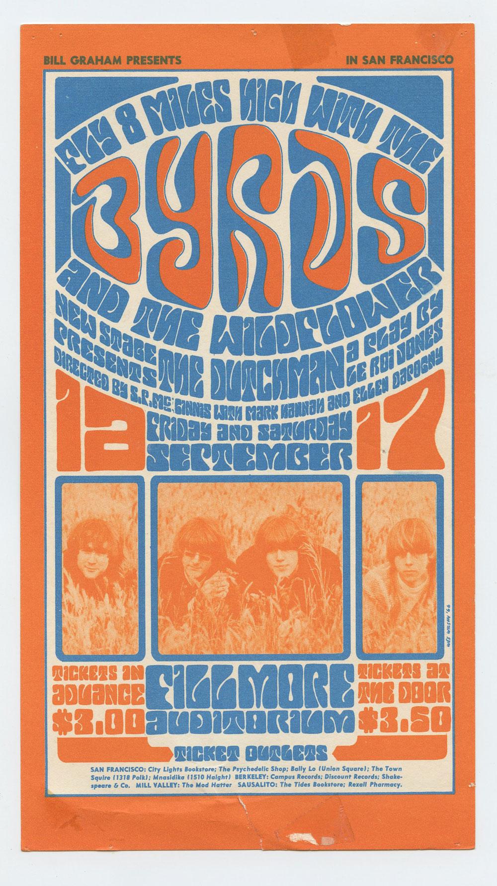 BG  28 Handbill The Byrds 1966 Sep 16 Very Fine