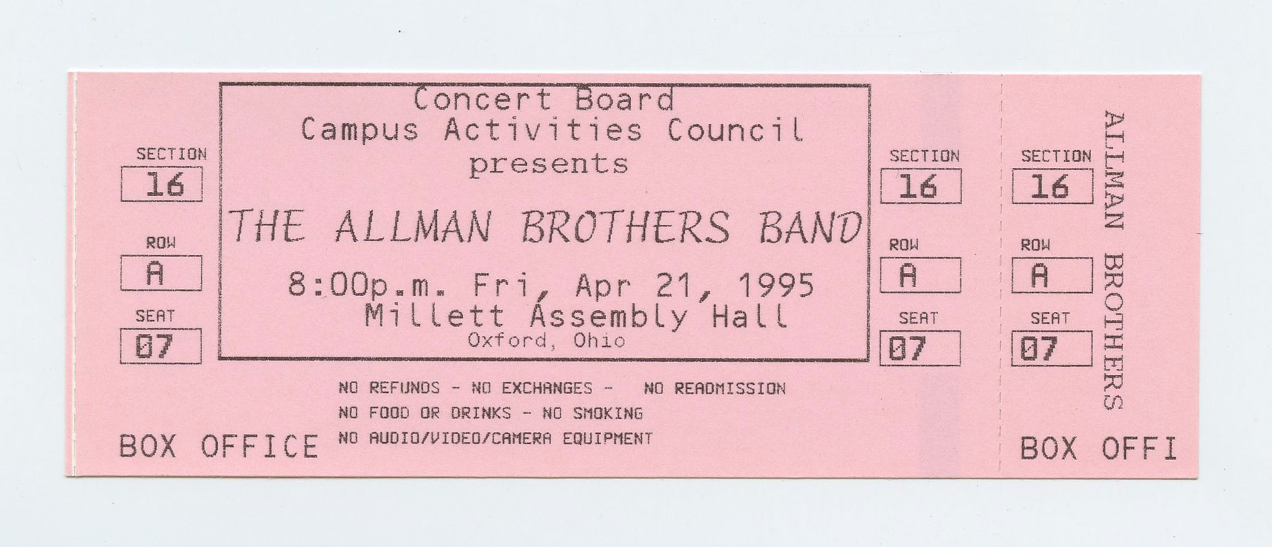 Allman Brothers Band Ticket 1995 Apr 21 Millett Assembly Hall Oxford OH Unused