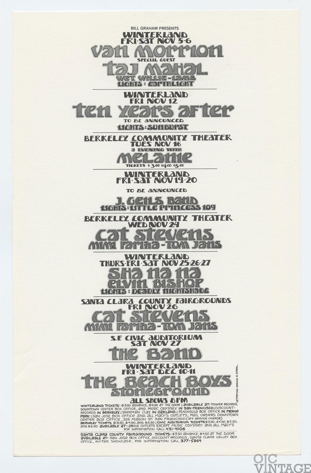 Bill Graham Presents Flyer 1971 Nov Van Morrison The Beach Boys The Band