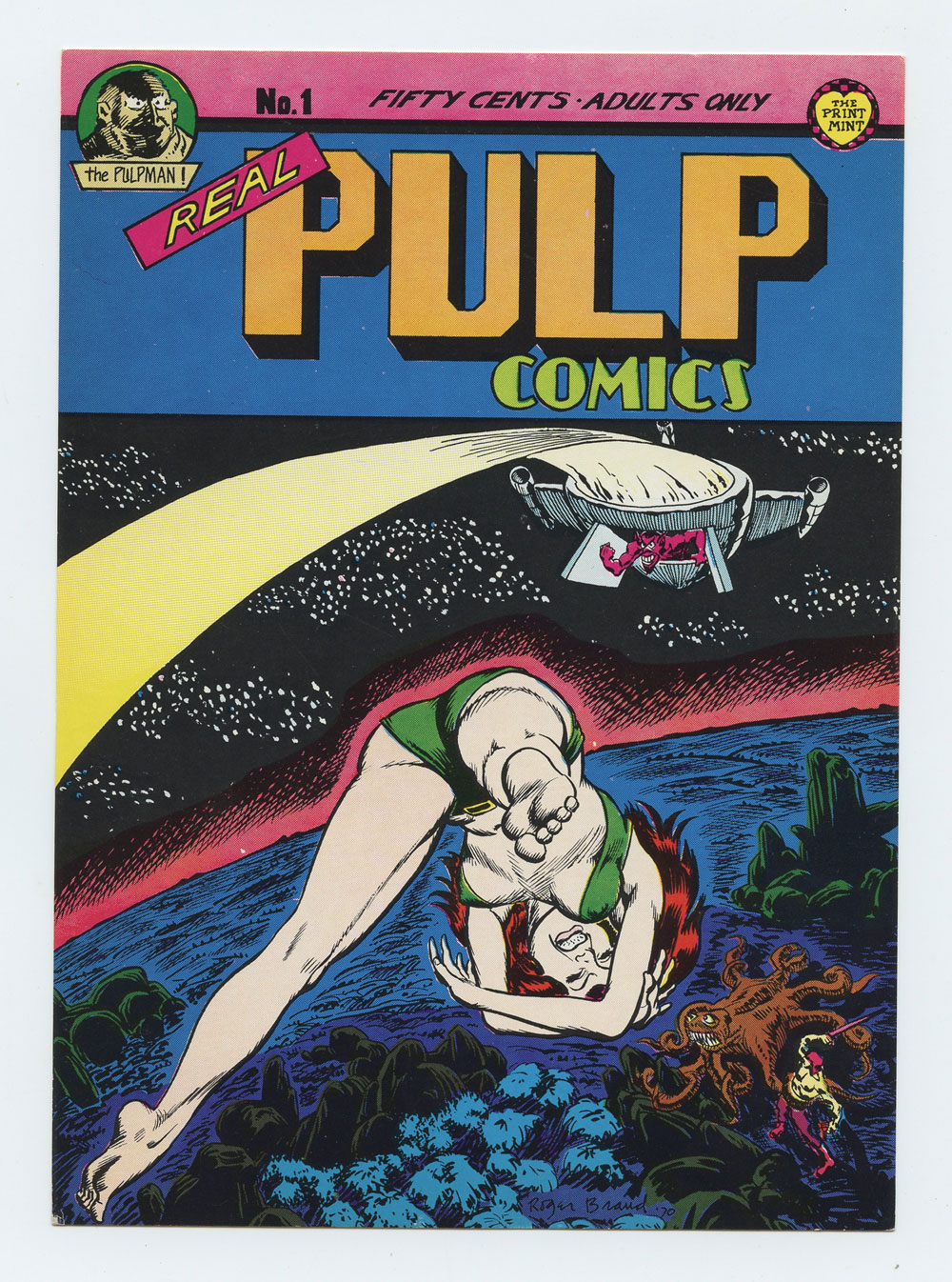 Real Pulp Comics Postcard No. 1 edition Promo 1973 Roger Brand