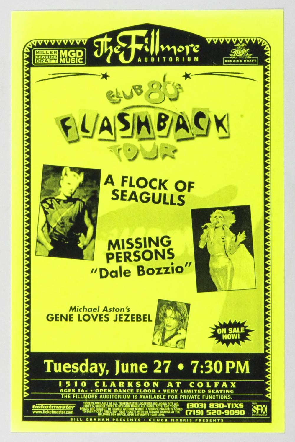 A Flock Of Seagulls Poster 2001 Jun 27 Club 80's Flashback Tour Fillmore Denver