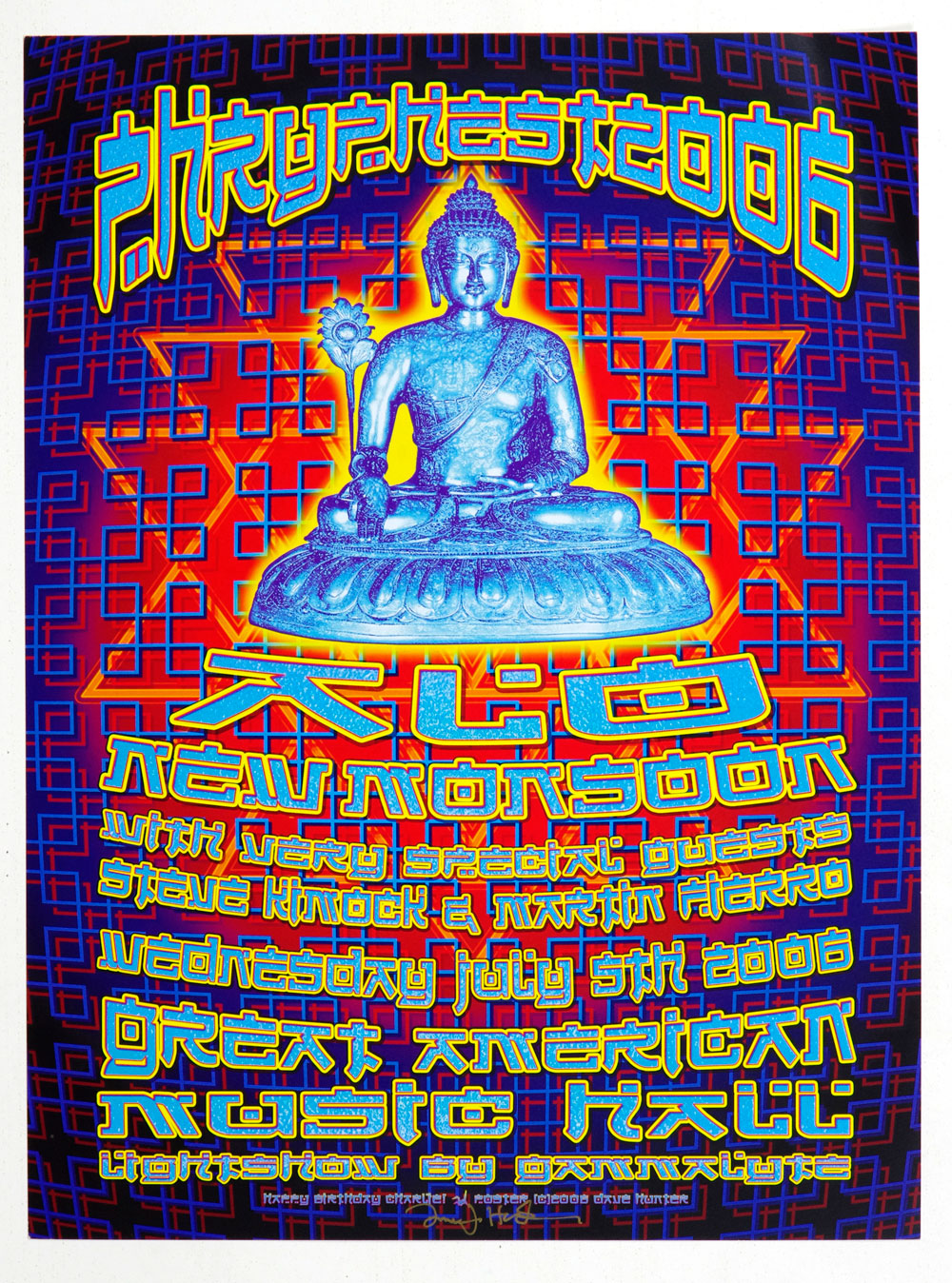 ALO Poster w/ New Monsoon 2006 Jul 5 Great American Music Hall Dave Hunter Signed