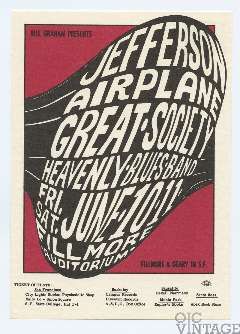 BG  10 Postcard Jefferson Airplane Great Society 1966 Jun 10
