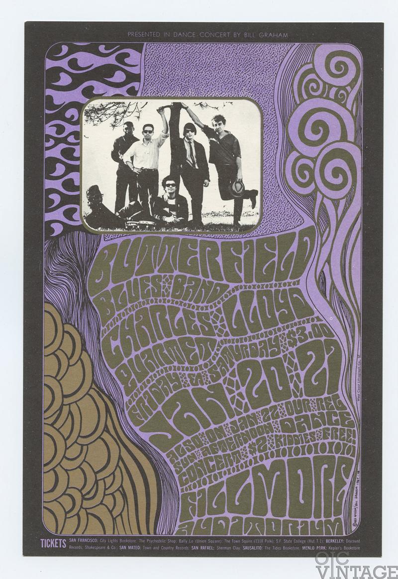 BG  46 Postcard Butterfield Blues Band Charles Lloyd Quartet 1967 Jan 20