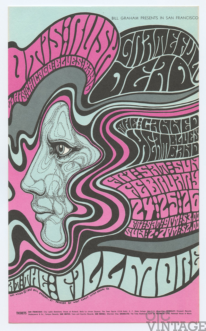 BG  51 Postcard Grateful Dead Otis Rush 1967 Feb 24