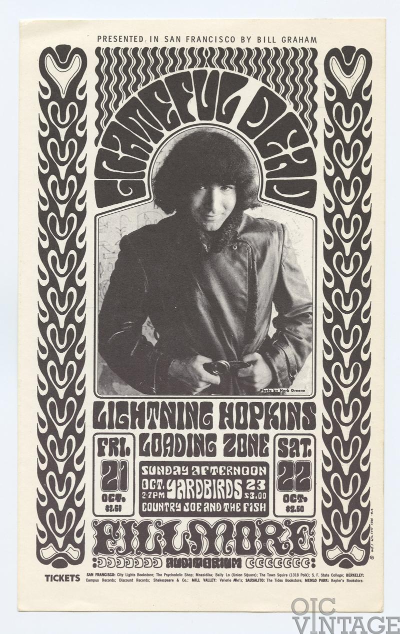 BG  32 Postcard Grateful Dead Yardbirds 1966 Oct 21