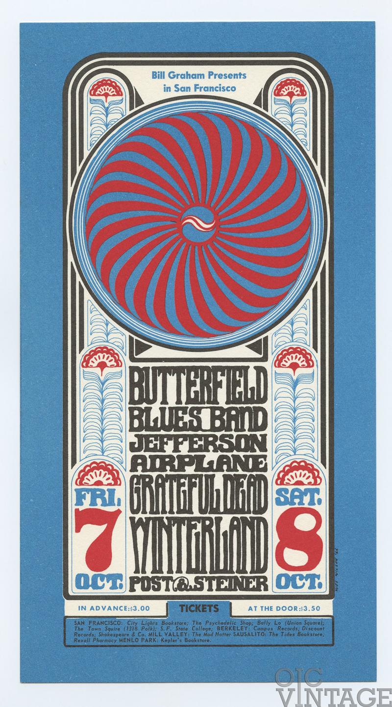 BG  30 Postcard Grateful Dead Jefferson Airplane 1966 Oct 7