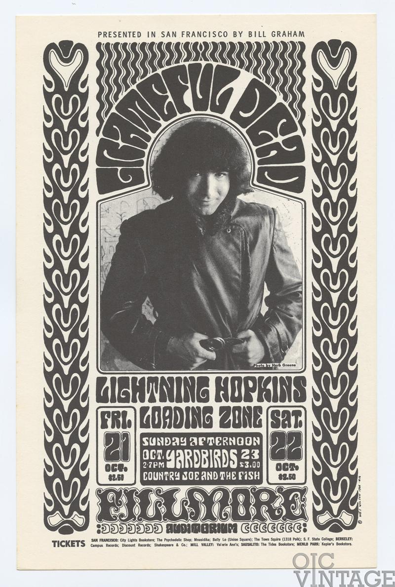 BG  32 Handbill Grateful Dead Yardbirds 1966 Oct 21