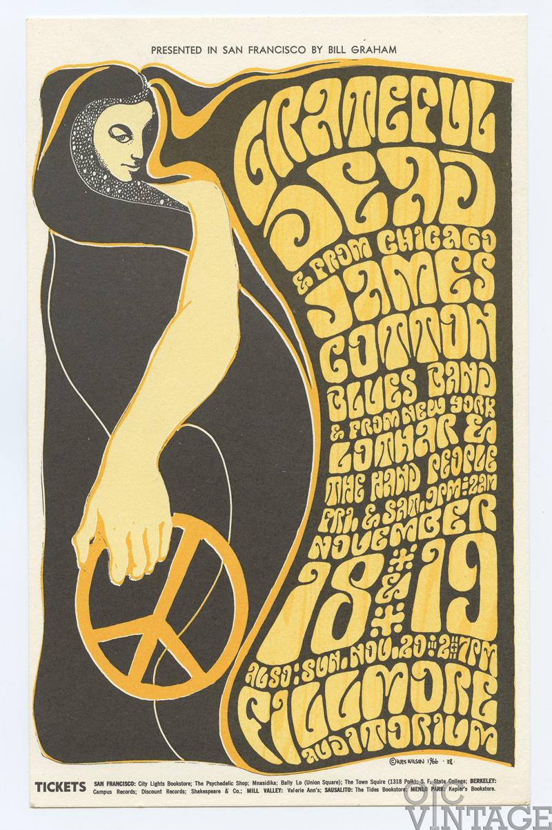 BG  38 Postcard Grateful Dead James Cotton Blues Band 1966 Nov 18