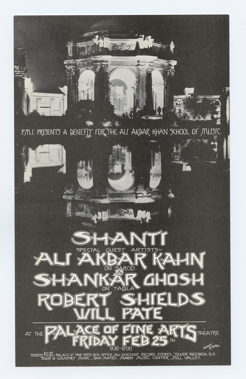 Ali Akbar Kahn Shankar Ghosh Handbill 1972 Feb 25 Palace of Fine Arts San Francisco