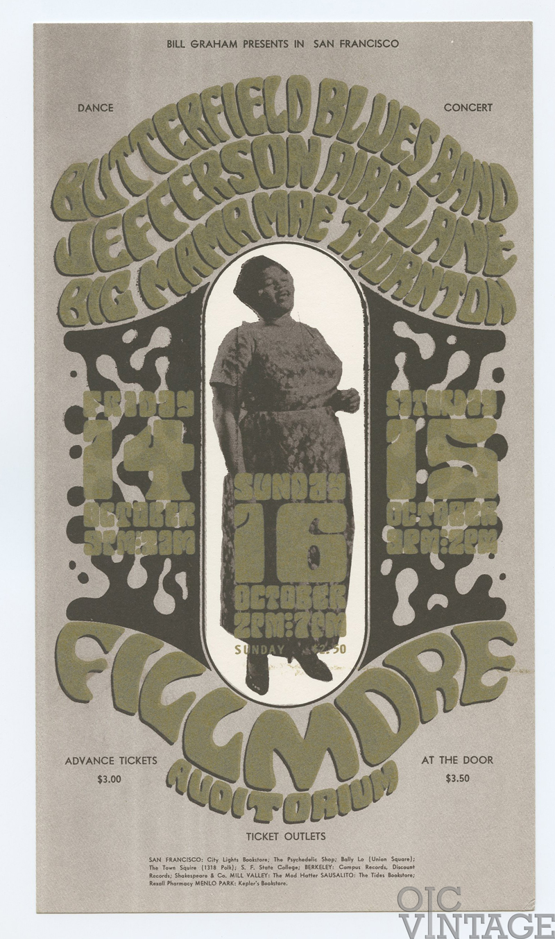 BG  31 Handbill Jefferson Airplane Big Mama Thornton 1966 Oct 14