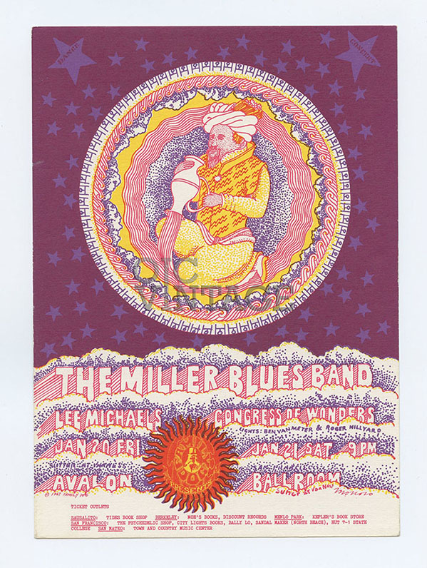 FD  44 Postcard Miller Blues Band Lee Michaels 1967 Feb 10