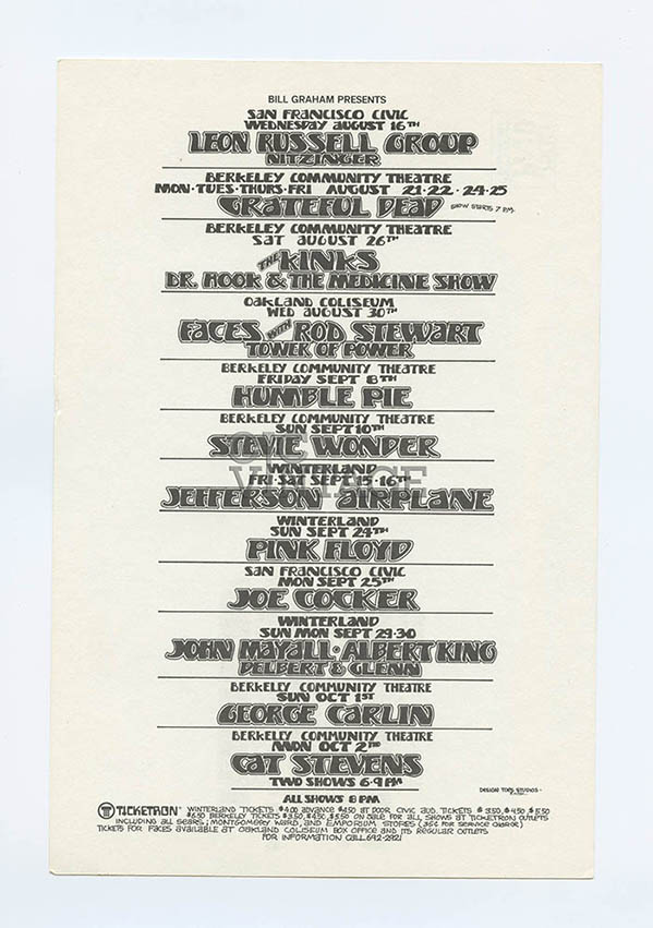 Bill Graham Presents Postcard 1972 Aug Oct Pink Floyd Stevie Wonder Grateful Dead