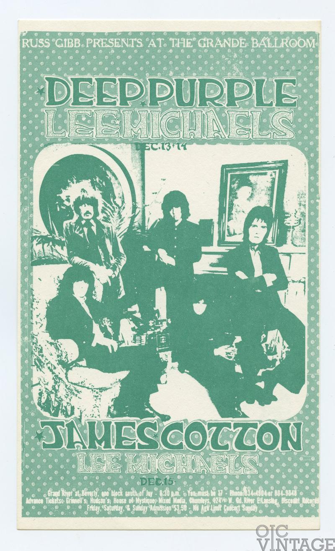 Grande Ballroom Postcard 1968 Dec 13 Deep Purple Lee Michaels James Cotton