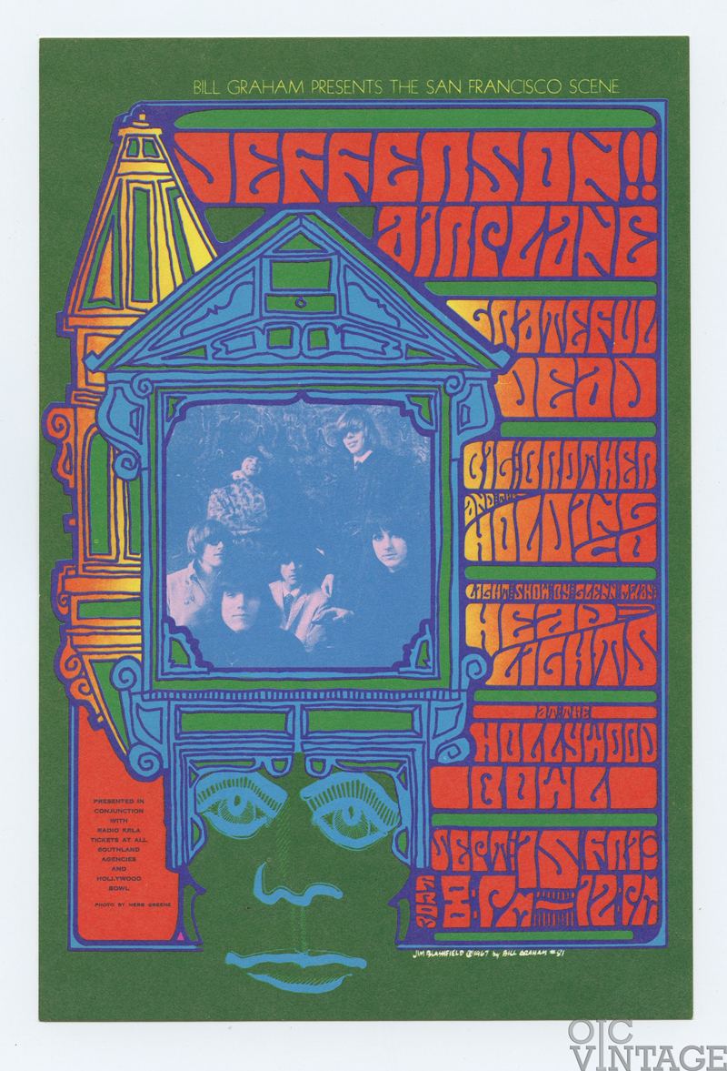 BG  81 Postcard Grateful Dead Jefferson Airplane 1967 Sep 15