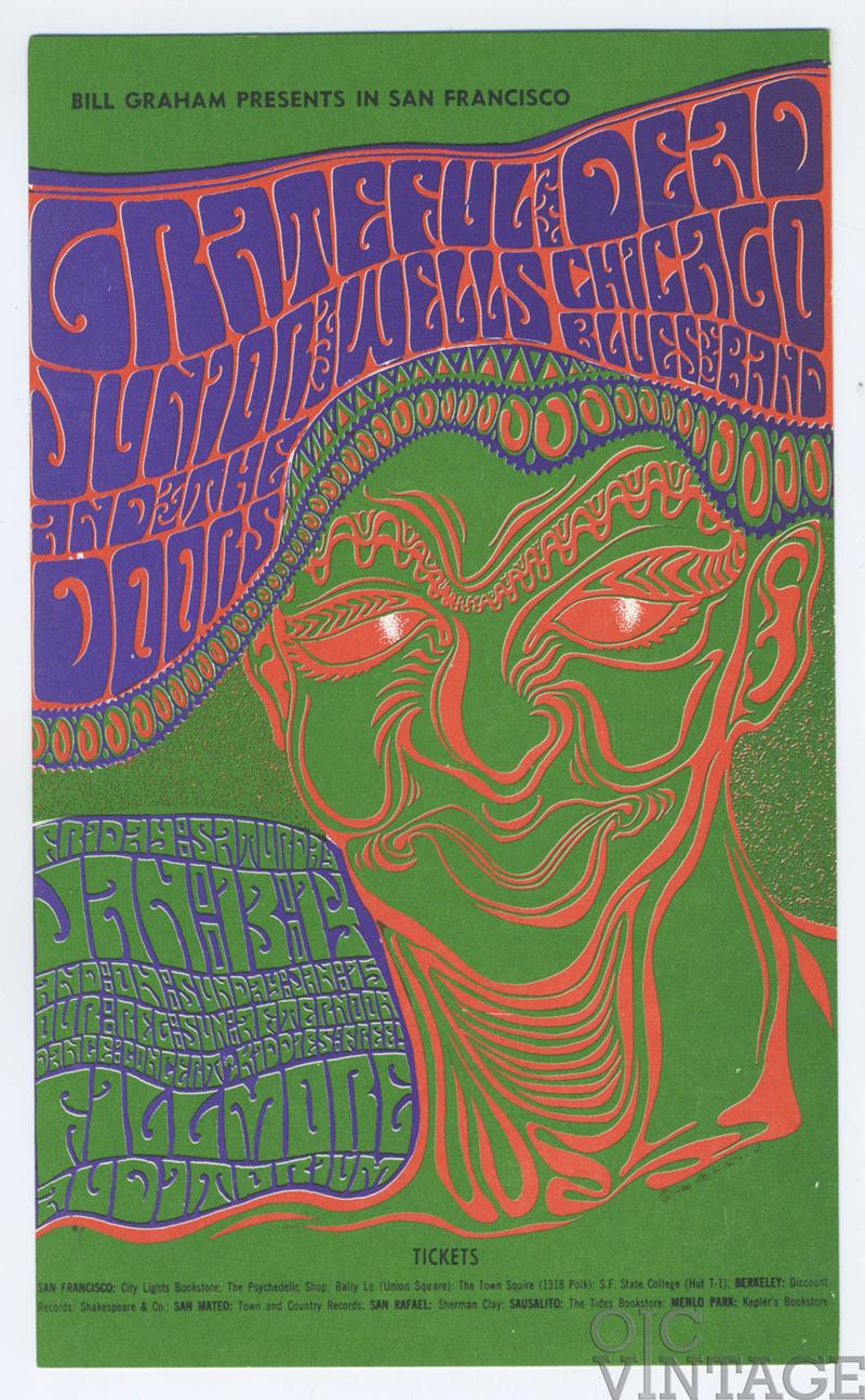 BG  45 Postcard Grateful Dead The Doors 1967 Jan13