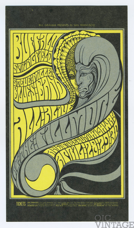 BG  61 Postcard Buffalo Springfield Steve Miller 1967 Apr 28