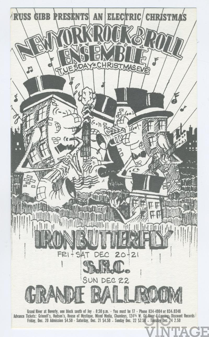 Grande Ballroom Postcard 1968 Dec 20 Iron butterfly