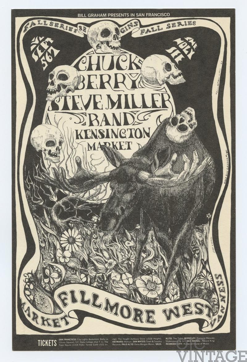BG 135 Postcard Ad Back Chuck Berry Steve Miller Band 1968 Sep 5
