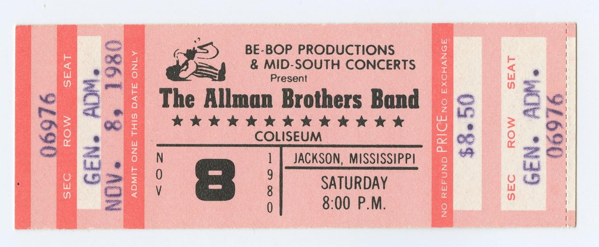 Allman Brothers Band Ticket 1980 Nov 8 Coliseum Jackson Mississippi Unused