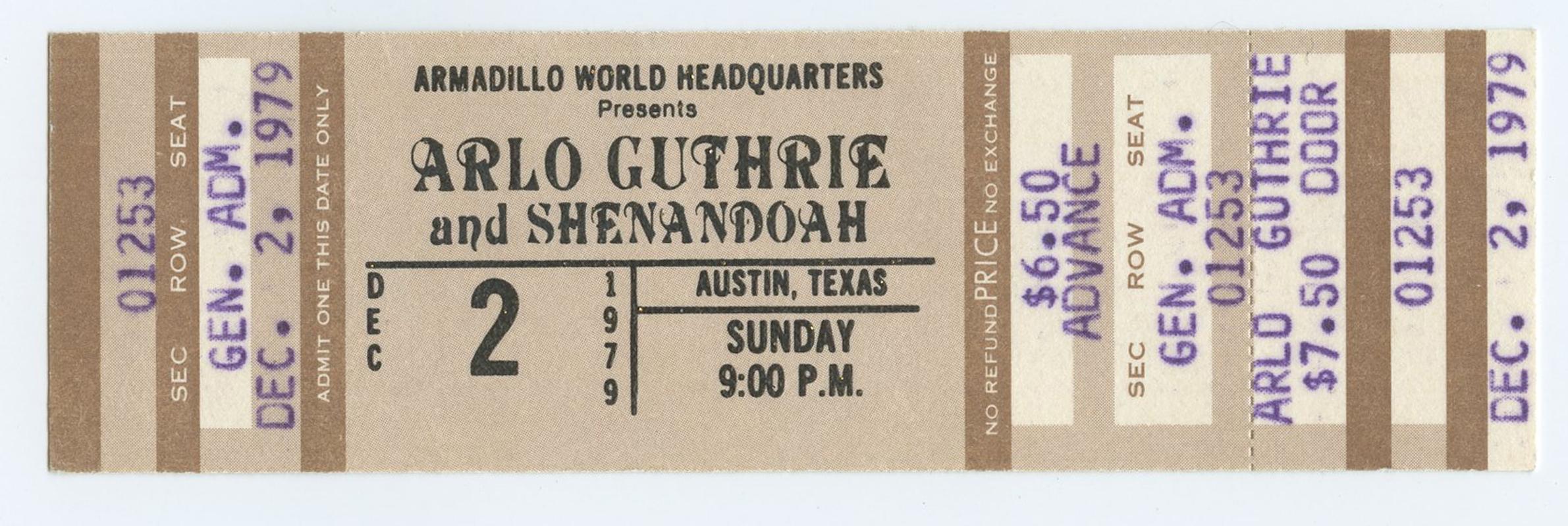 Arlo Guthrie Ticket 1979 Dec 2 Austin TX Unused