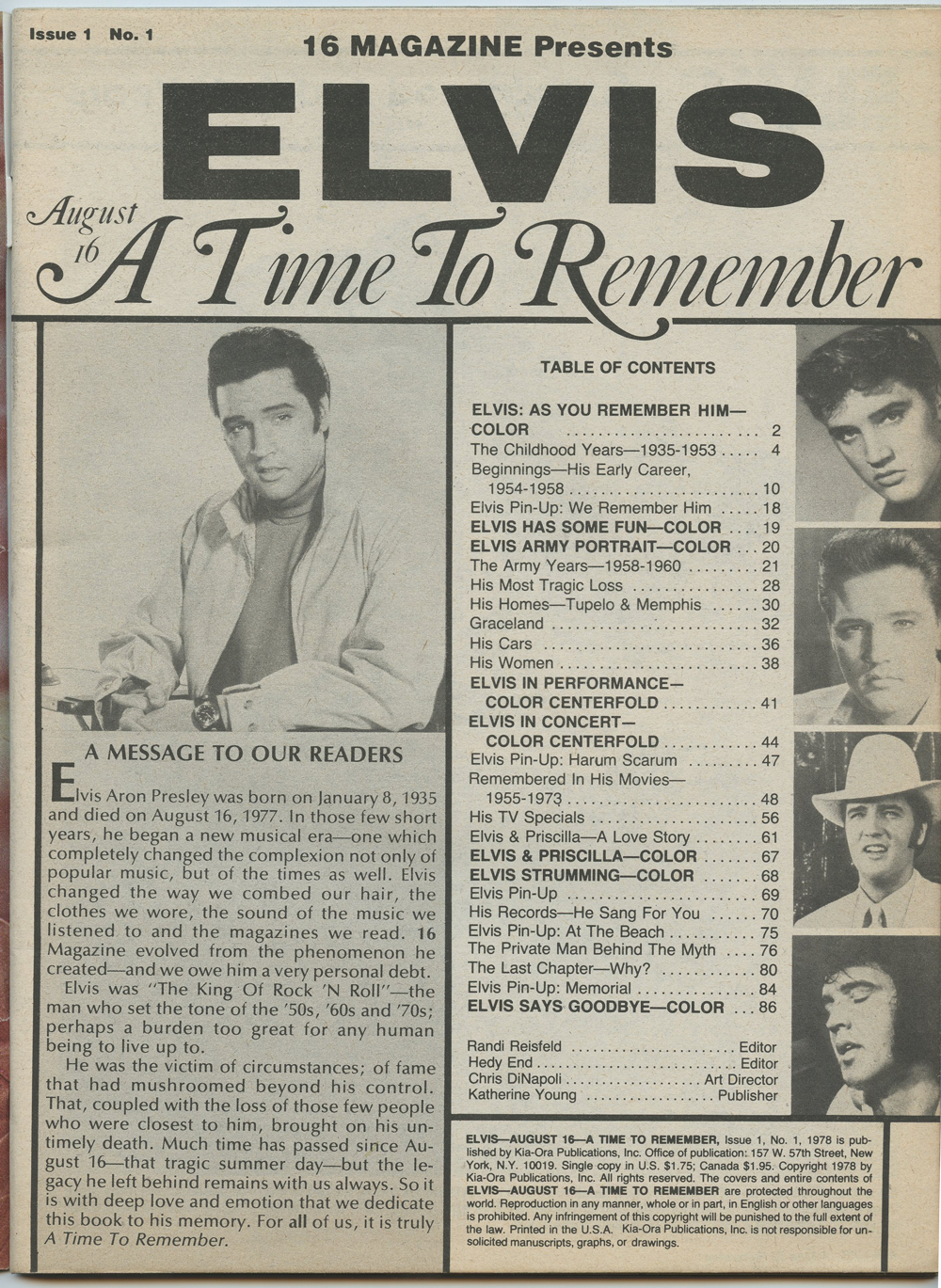 Elvis Presley Magazine Back Issue 1978 Elvis a Time To Remember