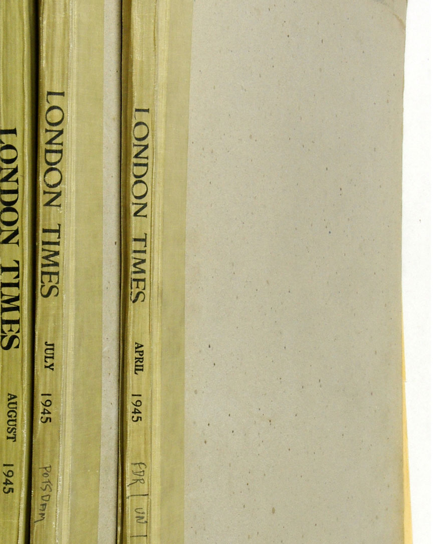 LONDON Times Historical News Paper 1945 April July August The End of WW II Bound Book Set of 3