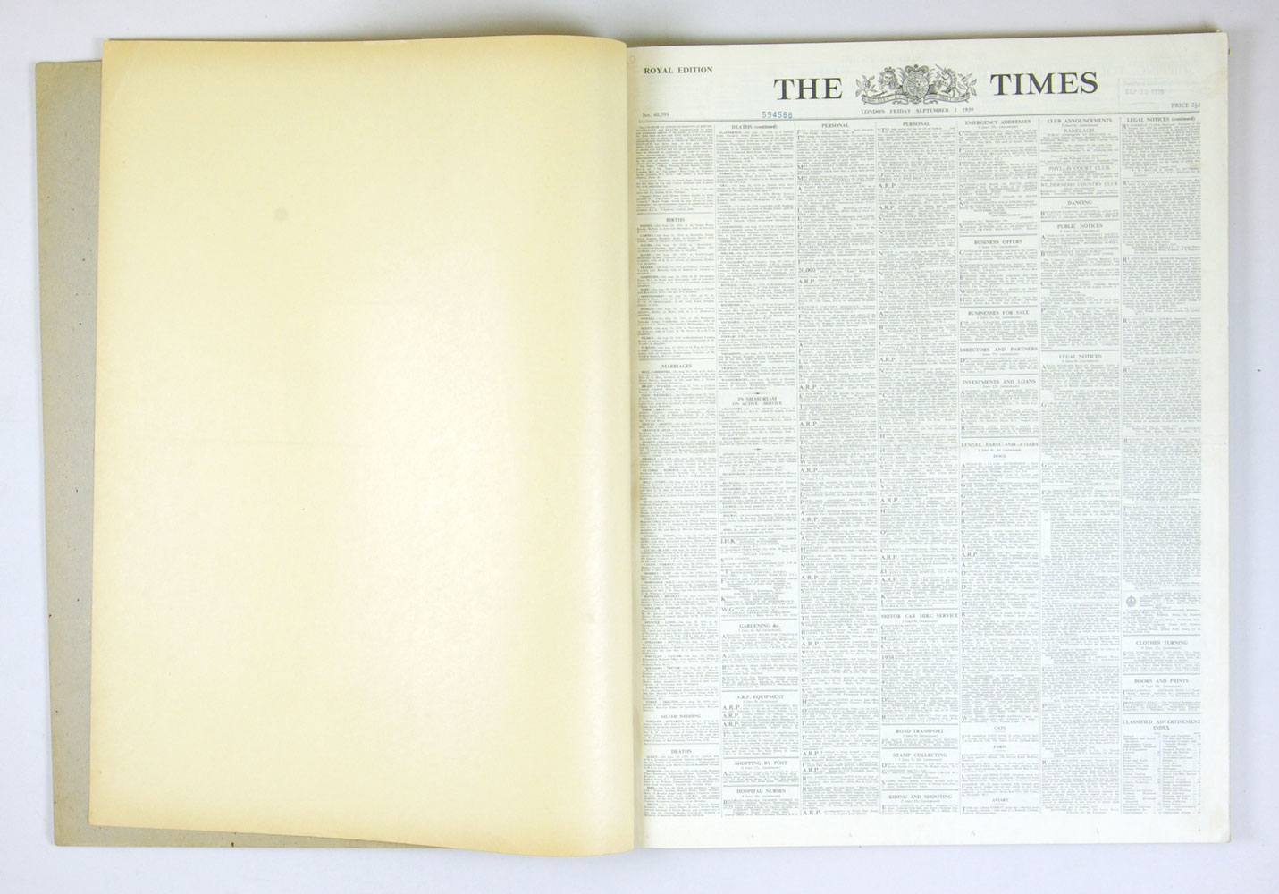 LONDON Times Historical News Paper 1939 September The Beginning of WW II Bound Book Set of 2
