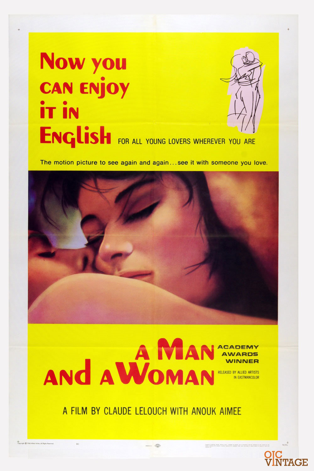 A Man and A Woman Movie Poster 1966 Anouk Aimée 27 x
