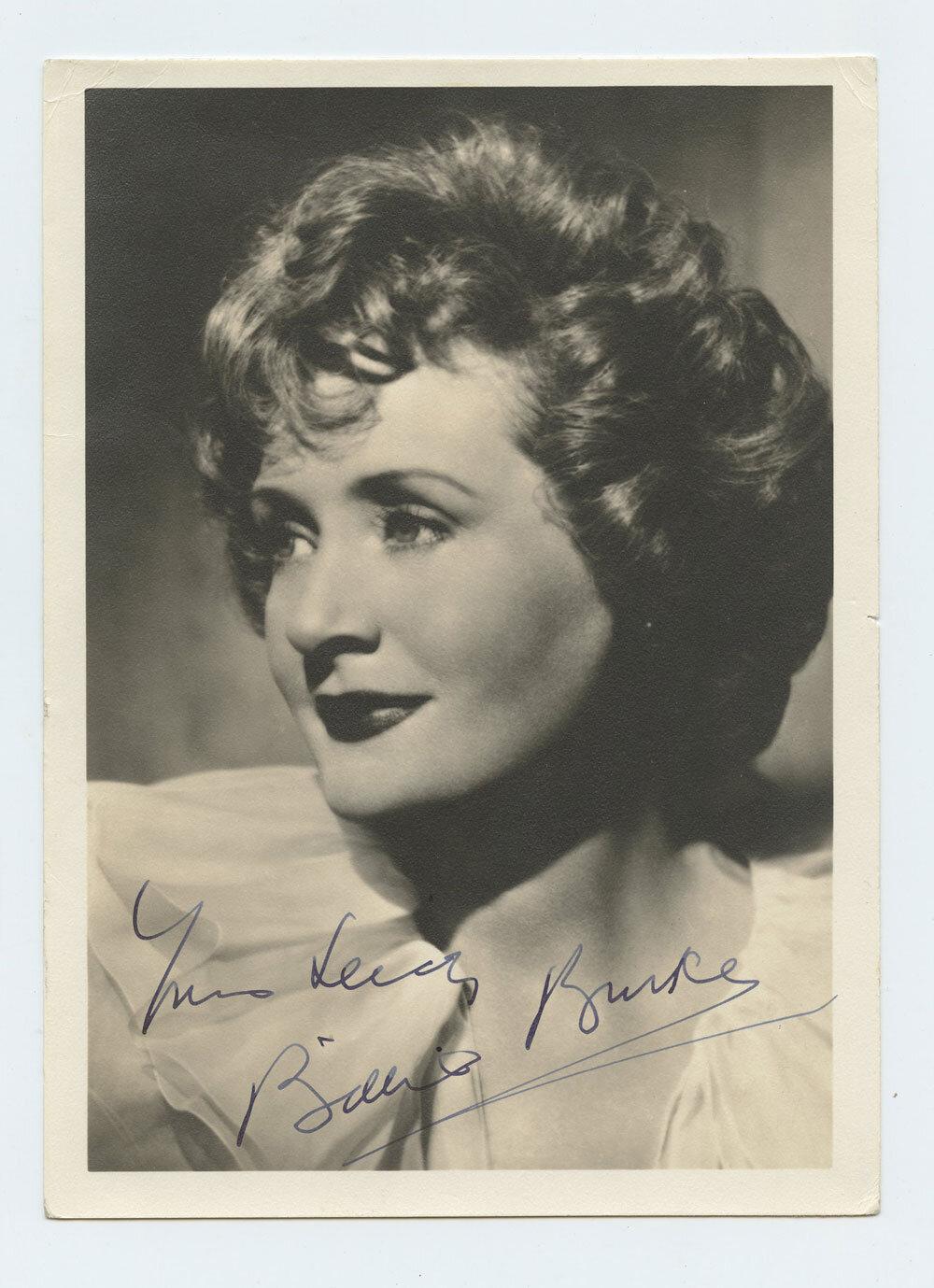 Billie Burke Photograph 1940s Autographed Inscribed Original Vintage