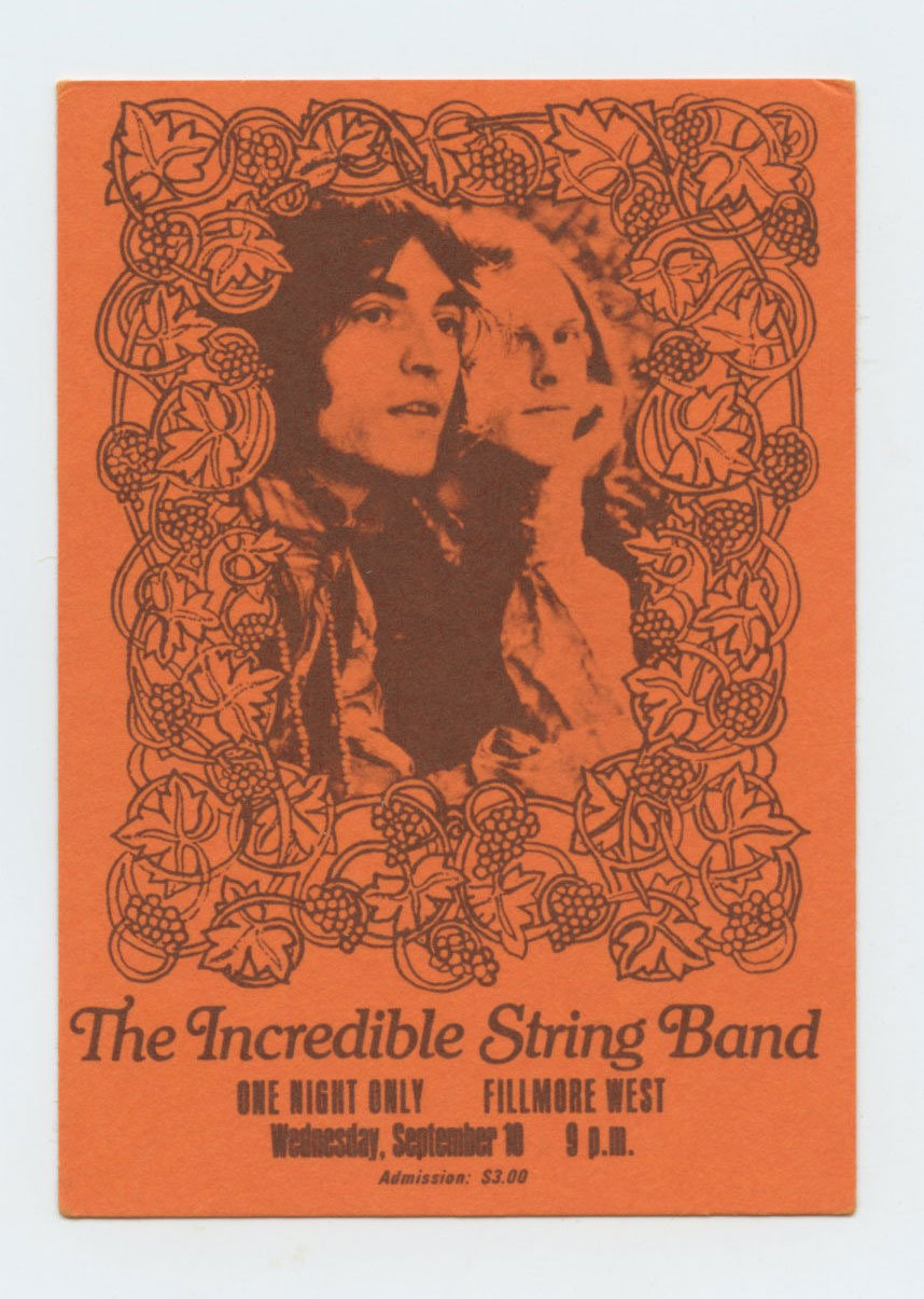 The Incredible String Band Ticket 1969 Sep 10 Fillmore West San Francisco