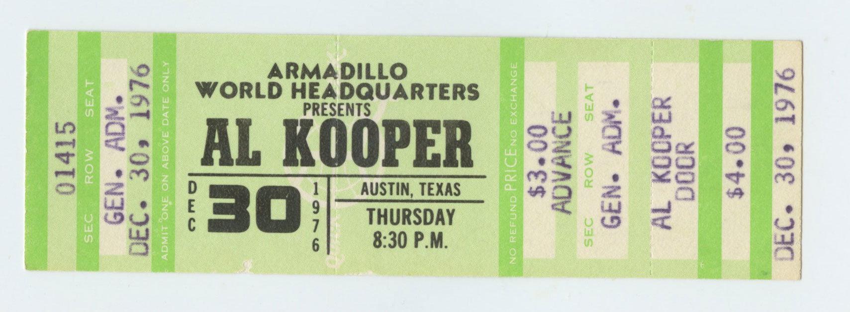 AL KOOPER Ticket 1976 Dec 30 Austin TX unused