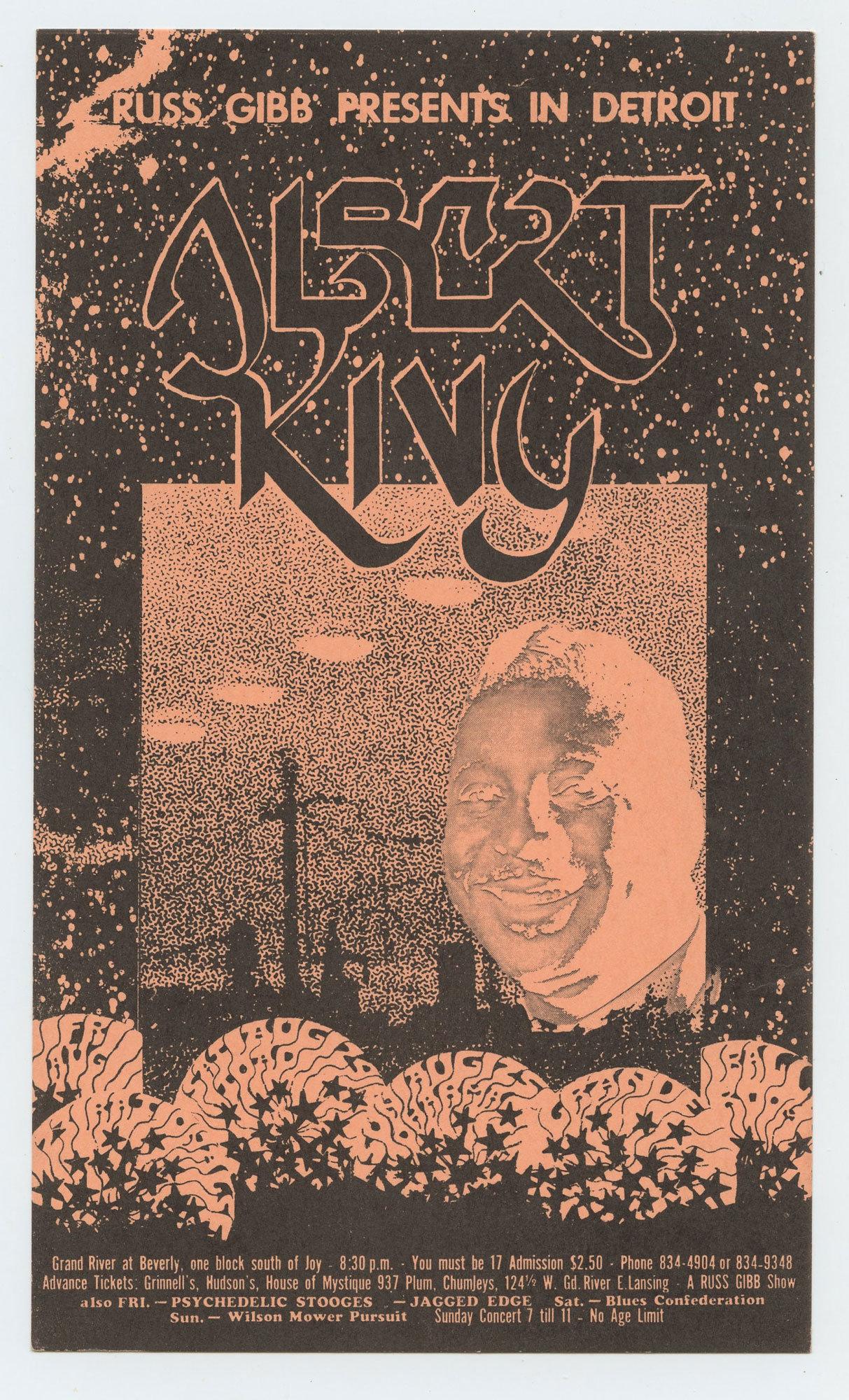 Grande Ballroom Postcard 1968 Aug 23 Albert King Jagged Edge
